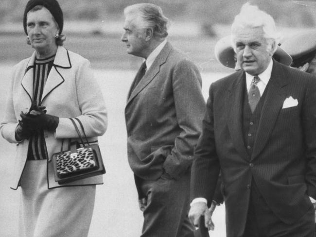 Gough Whitlam with his wife Margaret and Governor-General John Kerr, pictured the month before the dismissal.