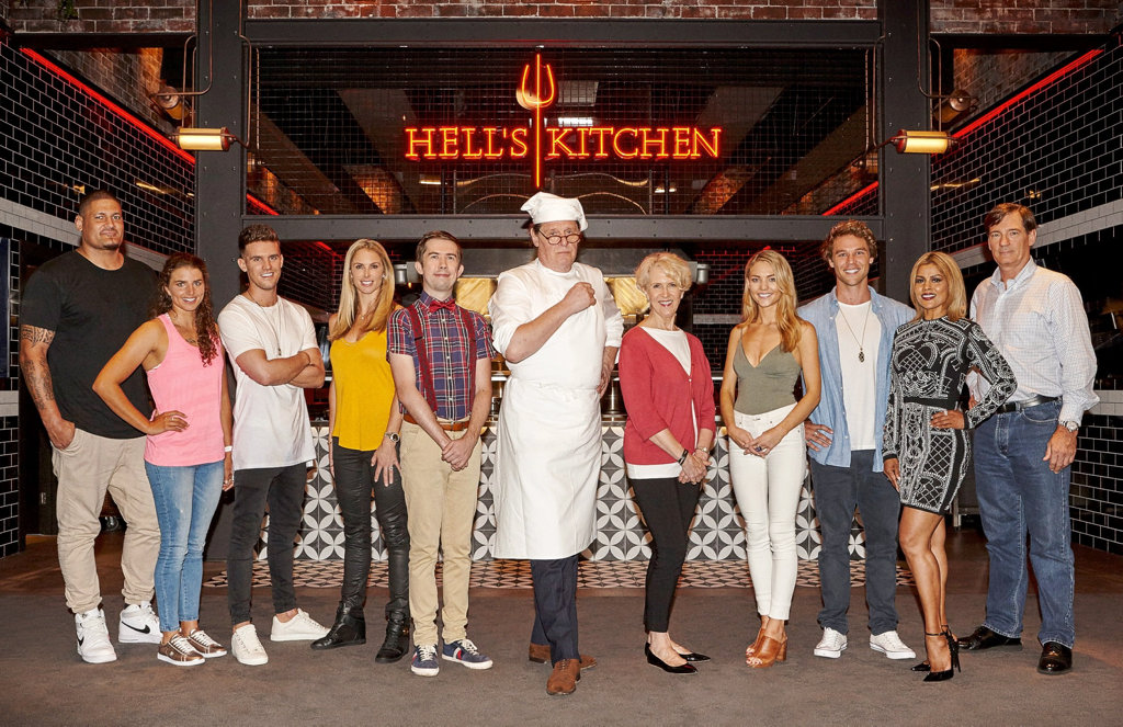 The celebrity contestants of Hell's Kitchen Australia, from left, Willie Mason, Jess Fox, Gary 'Gaz' Beadle, Candice Warner, Issa Schultz, Debra Lawrance, Sam Frost, Lincoln Lewis, Pettifleur Berenger, David Oldfield and host Marco Pierre White, centre.