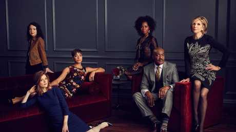 The cast of the TV series The Good Fight, from left, Sarah Steele, Rose Leslie, Cush Jumbo, Erica Tazel, Delroy Lindo and Christine Baranski.