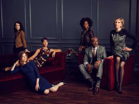 The cast of the TV series The Good Fight, from left, Sarah Steele, Rose Leslie, Cush Jumbo, Erica Tazel, Delroy Lindo and Christine Baranski.