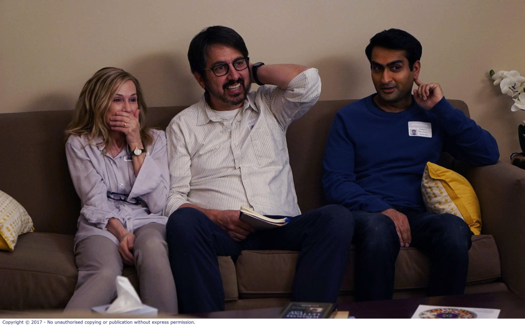 Holly Hunter, Ray Romano and Kumail Nanjiani in a scene from The Big Sick.