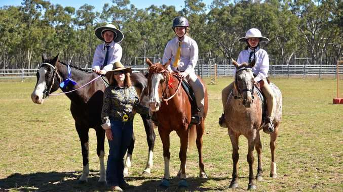 Maggie Caskey (second place), Parker Pegg (first place) and Indie Everitt (third) in the under 12s jumping at Augathella Pony Club.