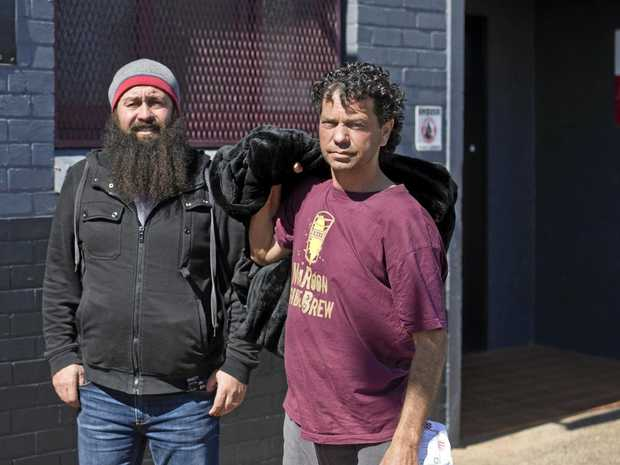 SLEEPING ROUGH: Nat Spary (left) and Darrell Hiles at the Basement Soup Kitchen in Toowoomba.