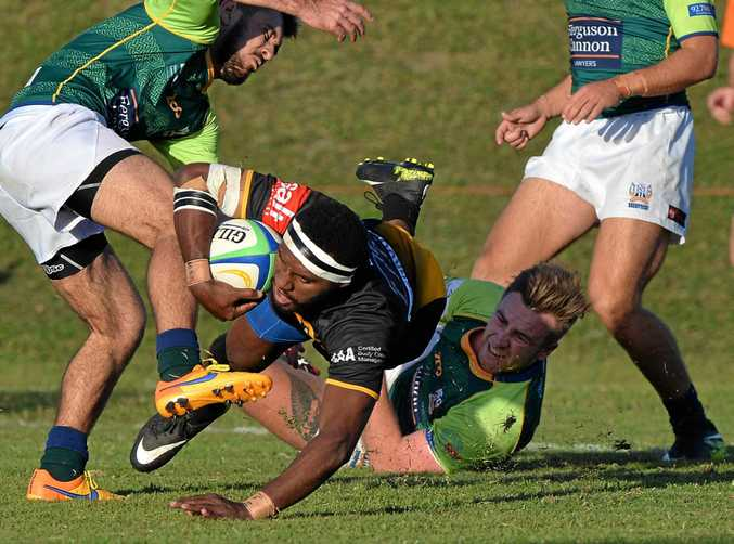 IN FORM: Caloundra's Masiri Ragata goes over for a try.