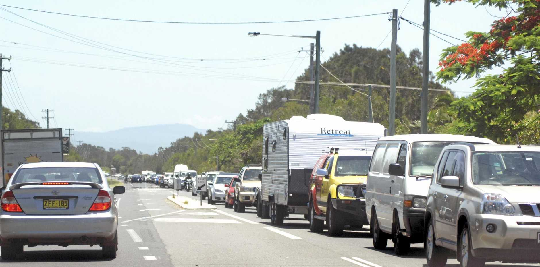 CROSS TOWN TRAFFIC: The usual long lines of traffic heading into into Byron Bay.