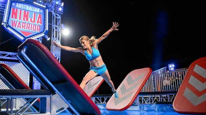 PUMPED: Organiser of the Byron Bay Lighthouse Run Lisa Parkes-Jetha going through her paces on Australia's Ninja Warriors.