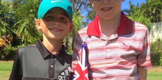 Junior golf stars Oscar McBean and Declan Corke.