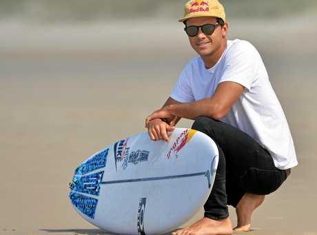 Australian pro Surfer Julian Wilson at Peregian Beach, Sunshine Coast.
