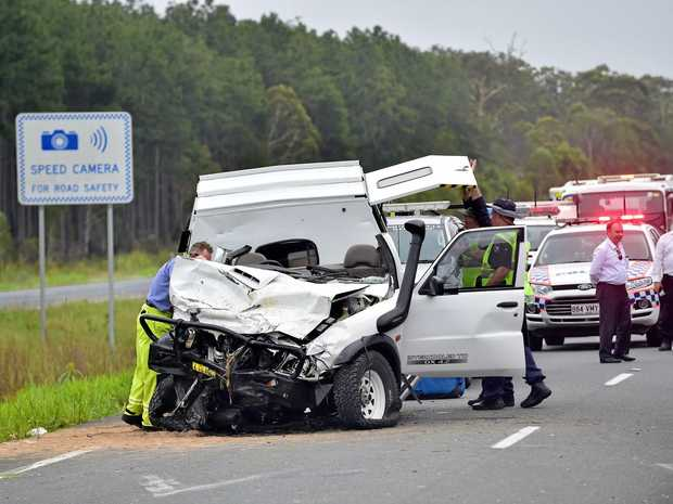 Multiple vehicle fatal crash on the Bruce Highway, south of the Caloundra turnoff. The ute that crossed into oncoming traffic. Photo: Che Chapman / Sunshine Coast Daily