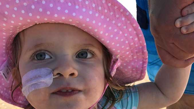 BABY BATTLER: Clara Winterbotham, 2, has become the face of a campaign raising funds for lifesaving medical equipment.