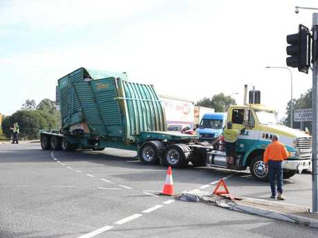 The truck that crashed into a railway bridge on Muriel Ave in Rocklea. Picture: Peter Wallis