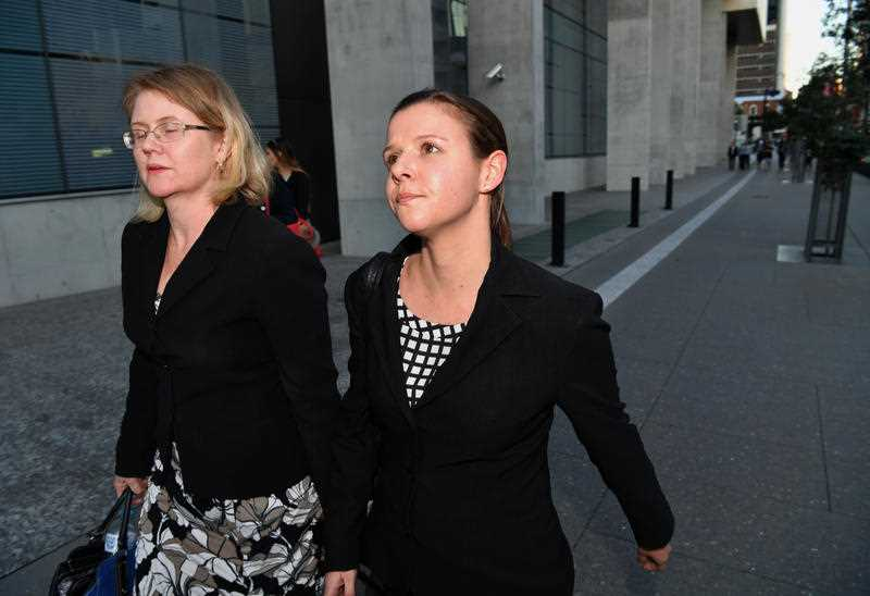 Ashleigh Watterson (right) leaves the Supreme Court in Brisbane, Tuesday August 1, 2017.