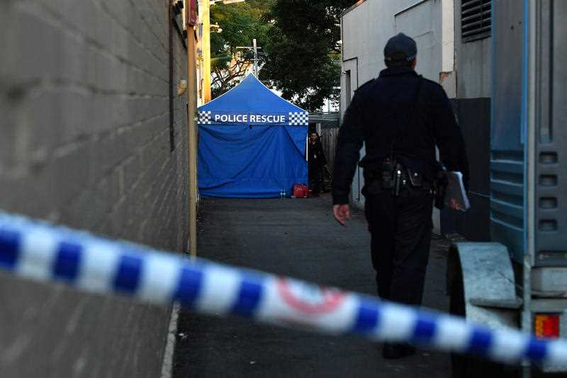 Police at a crime scene in Surry Hills, Sydney.