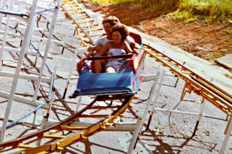 The Wild Mouse roller-coaster at Dino's Fun Park at Tanawha circa 1980.