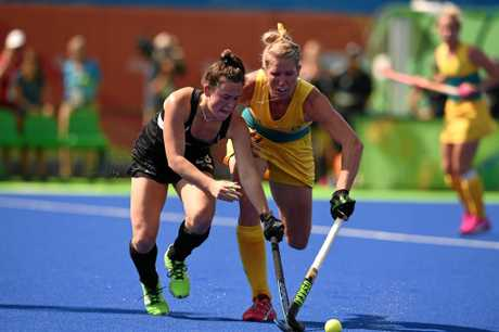 Jodie Kenny, right, in action for the Hockeyroos.