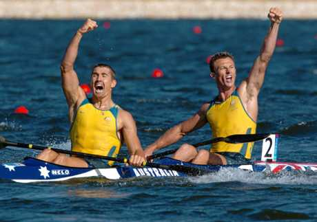 Clint Robinson (left) and Nathan Baggaley celebrate finishing second in the K2 500 men's event at the 2004 Olympic Games. Clint competed in five Olympics during a stellar career.