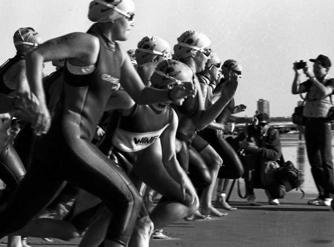 Action from the inaugural Mooloolaba Triathlon on May 16, 1993.