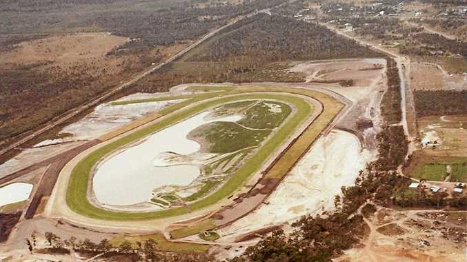 An aerial view of Corbould Park during construction in 1985.
