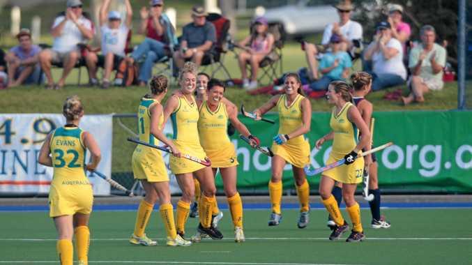 A women's hockey match between Australia and the USA at Ballinger Park, Buderim.