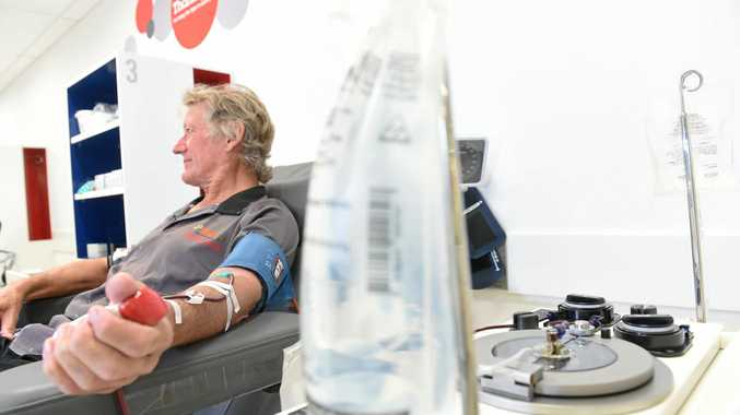 Trevor gives blood at the The Australian Red Cross Blood Service in Lismore.