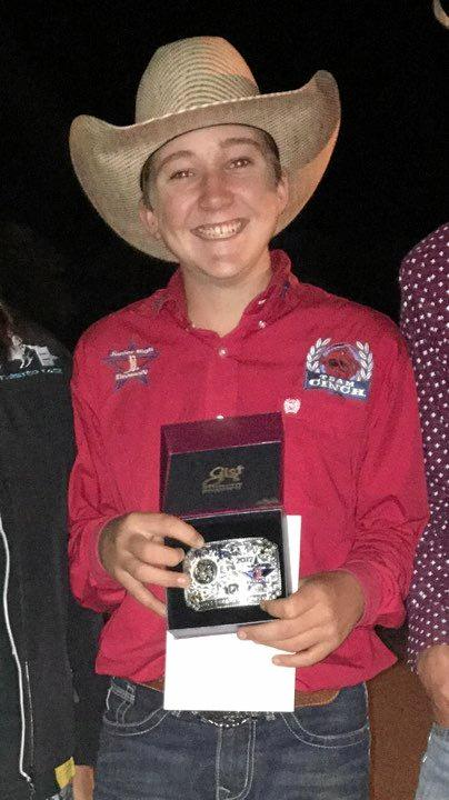 Maddix with his buckle after coming 7th in the world.