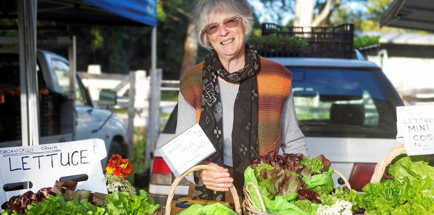 LETTUCE FANCIER: Denise Latham at her stall at the Mullumbimby Farmers' Market.