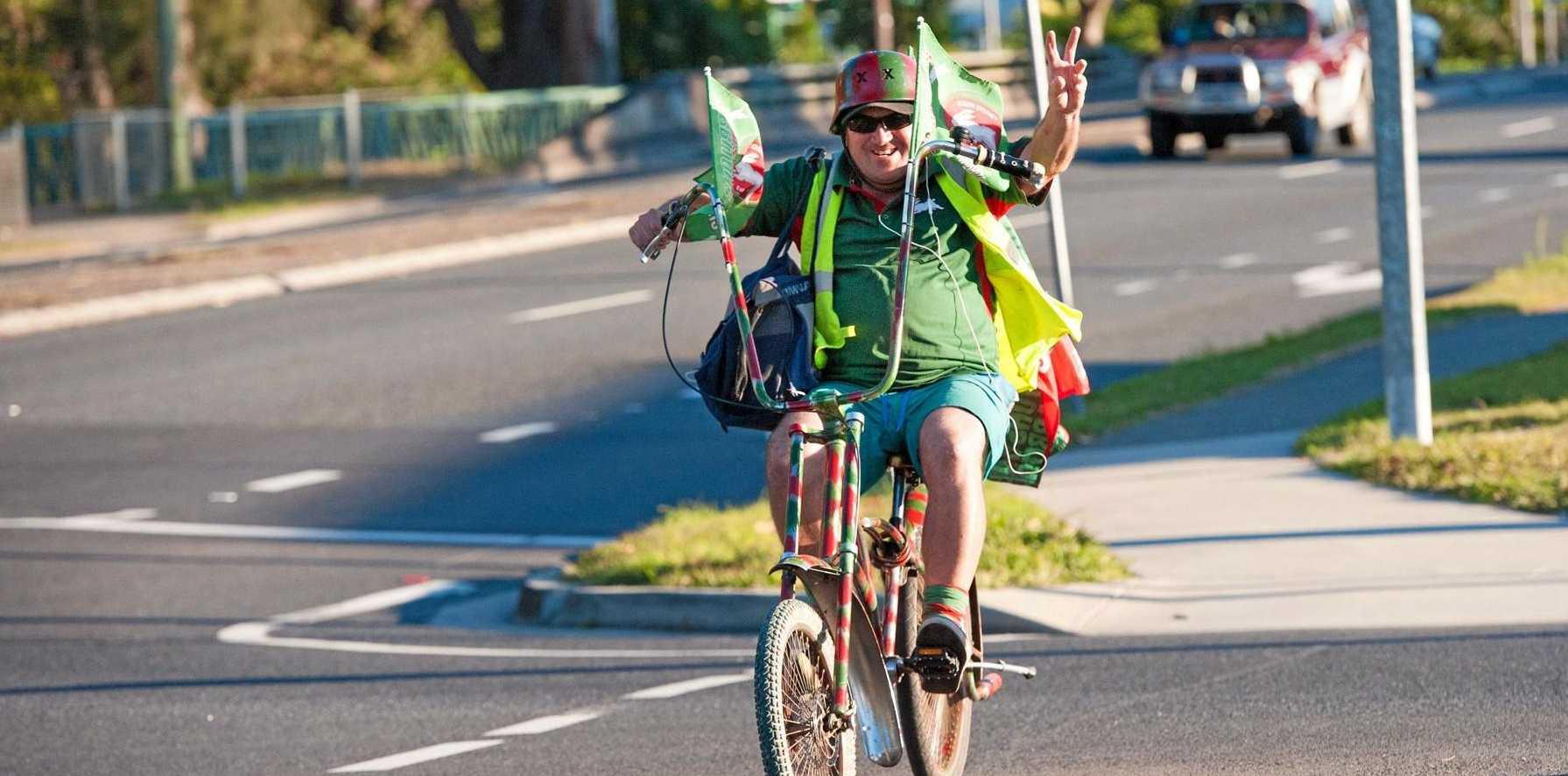 GO THE BUNNIES: David 'Speedy' Ellis proudly flies the colours of the South Sydney Rabbitohs.