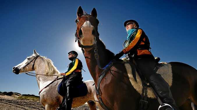 DETERMINED: Horsetalk Riding Farm endurance team members Steve Clibborn and Joyce Corbett get their fitness up in preparation for the race.