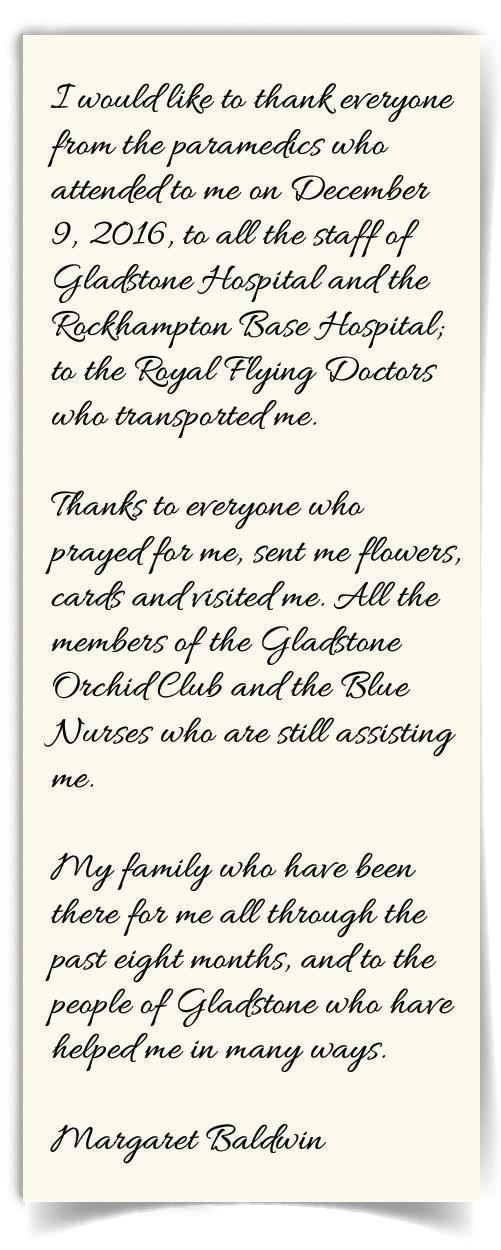 Margaret Baldwin's letter of thanks to those who have supported her since the December 9 tragedy.