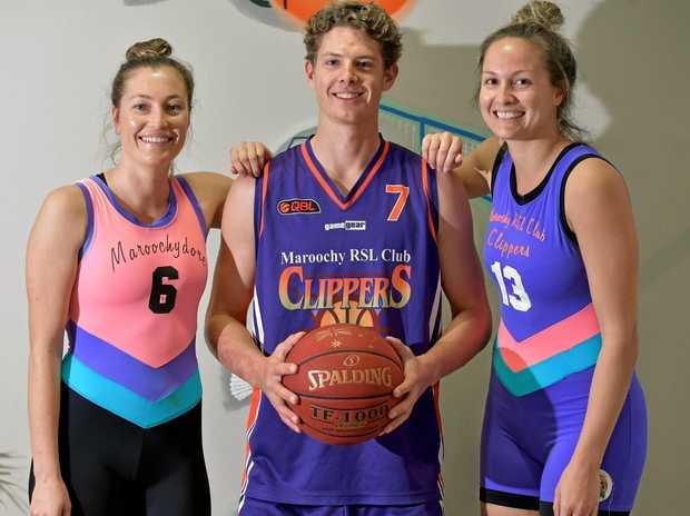 Natalie Saunders, Tom Fullarton and Ashlee Wallis wearing the retro uniforms in honour of the 1997 basketball teams.