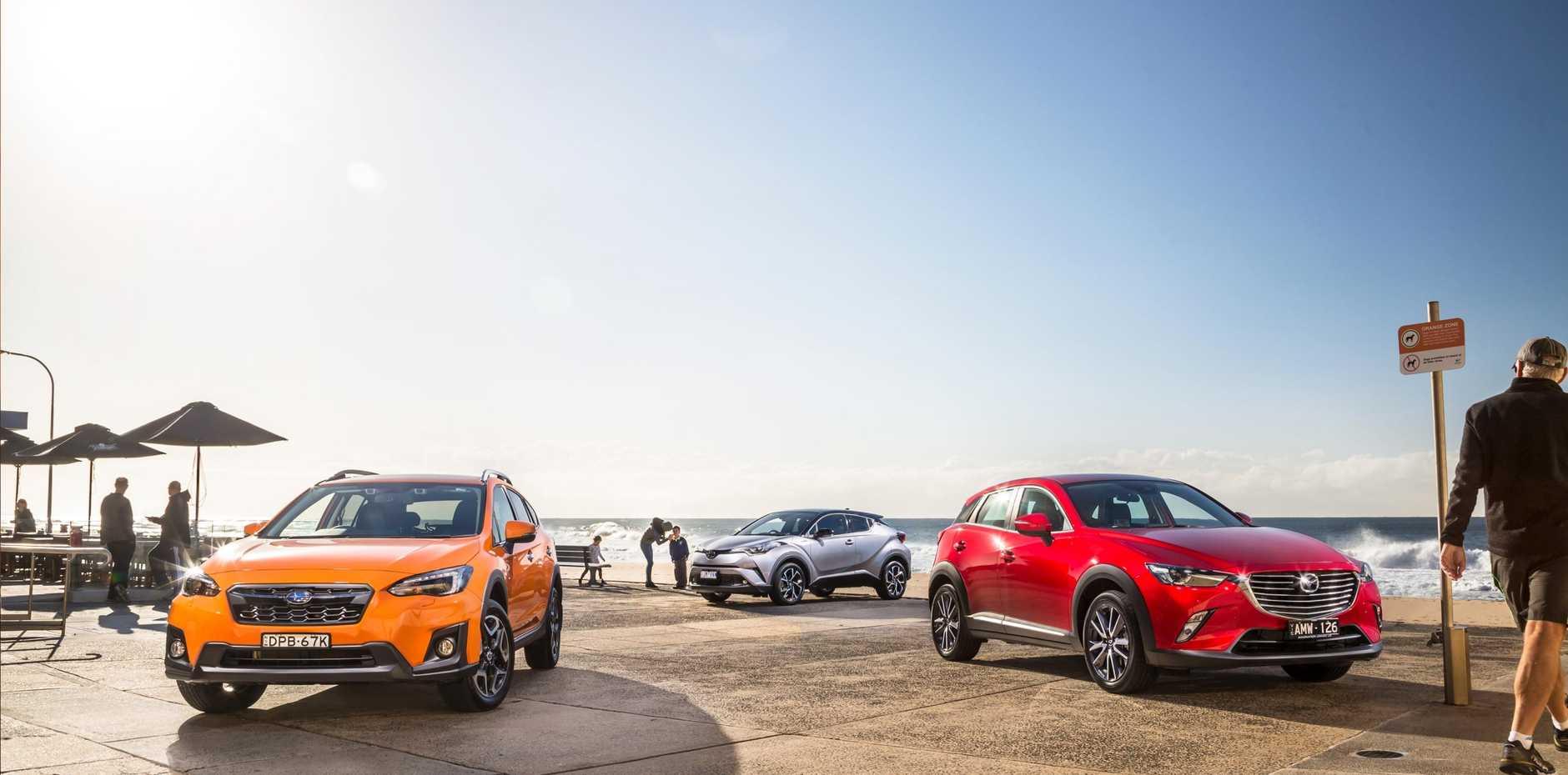 The 2017 Subaru XV, Mazda CX-3 and Toyota C-HR.