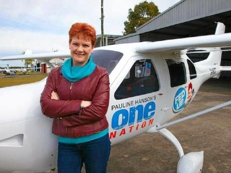 Pauline Hanson with the One Nation plane - complete with party logo and a caricature of Senator Hanson - flown by James Ashby.