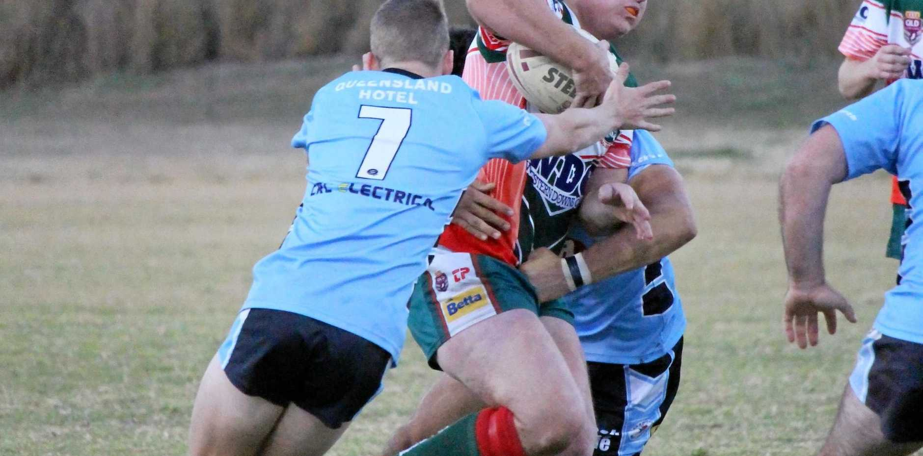 ARCH RIVALS: Miles Devils defence was just too good for Chinchilla Bulldogs at the weekend.