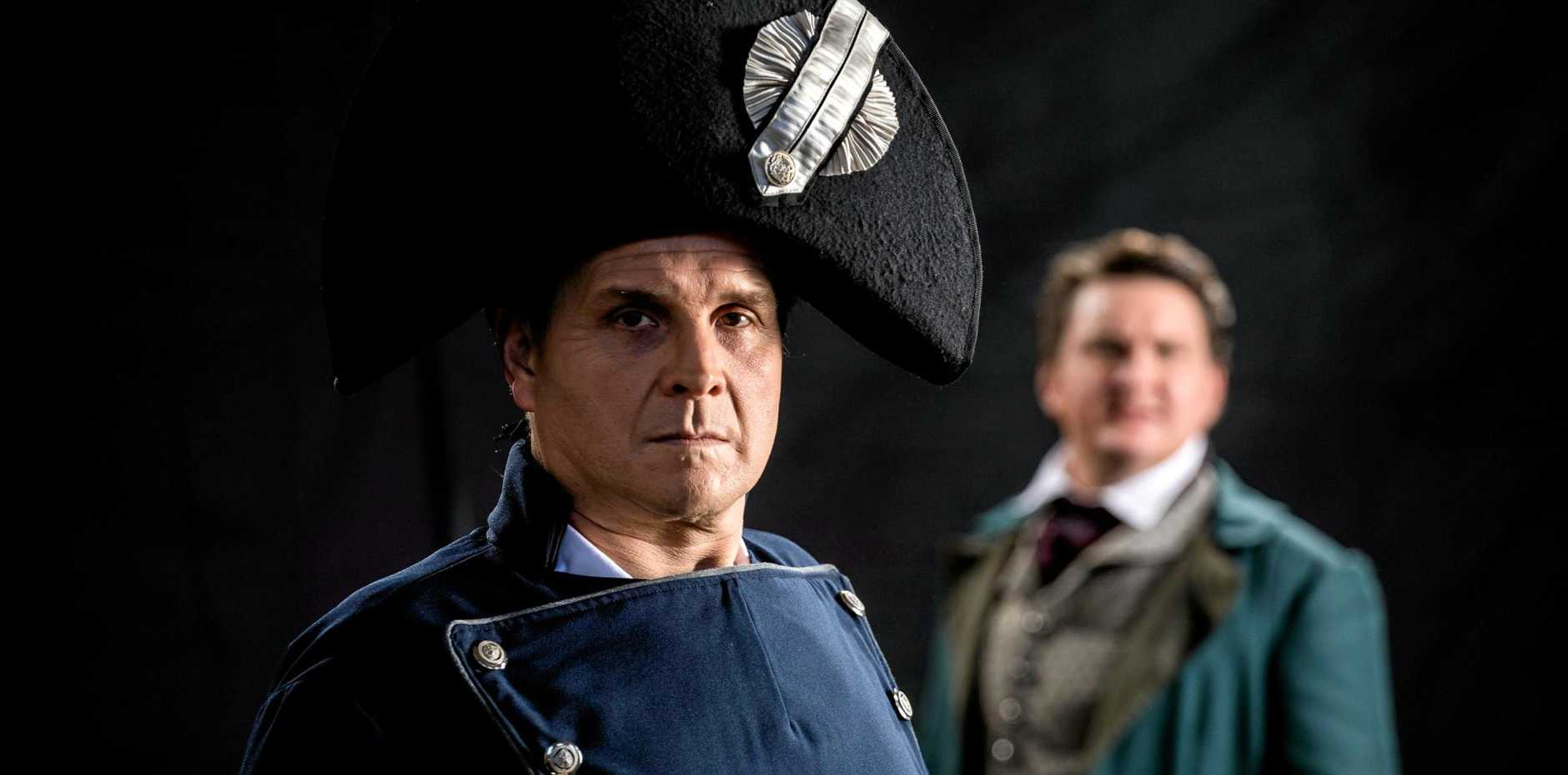 BOLD MOVE: Les Miserables stars Robert Shearer as Jean Valijean and Lionel Theunissen as Javert.