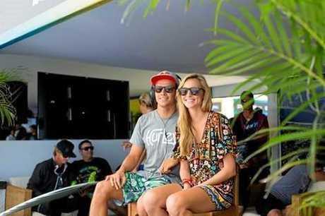 Pro-surfer Julian Wilson with wife Ashley