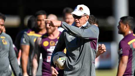 Brisbane Broncos coach Wayne Bennett (centre) during a training session in Brisbane this week.