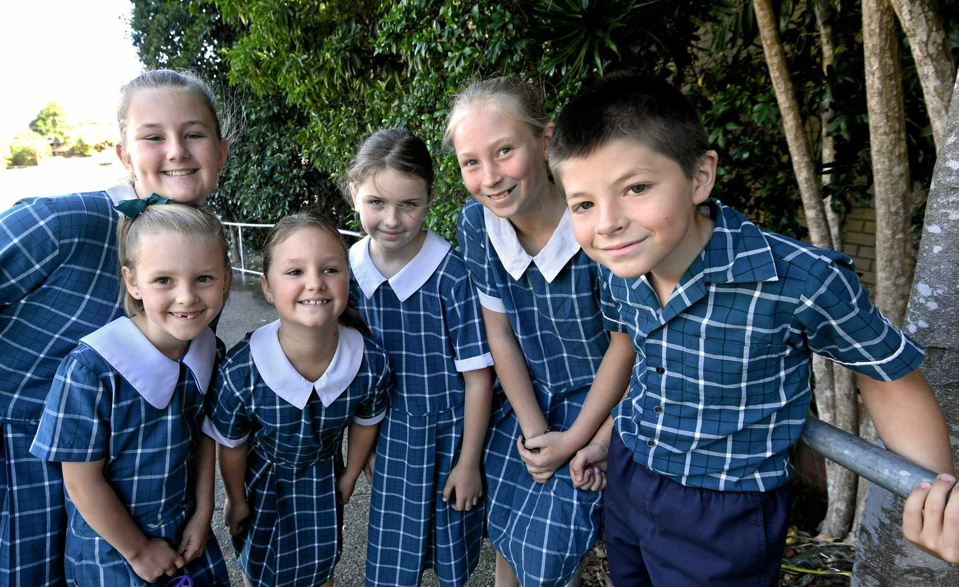 IN FINE VOICE: Cooloola Christian College's primary school choir at the Gympie and District Eisteddfod (from left) Summer Lipke, Emily Monk, Summer Robbins, Abigail Roberts, Bethany Herrington and Aiden Marrington.