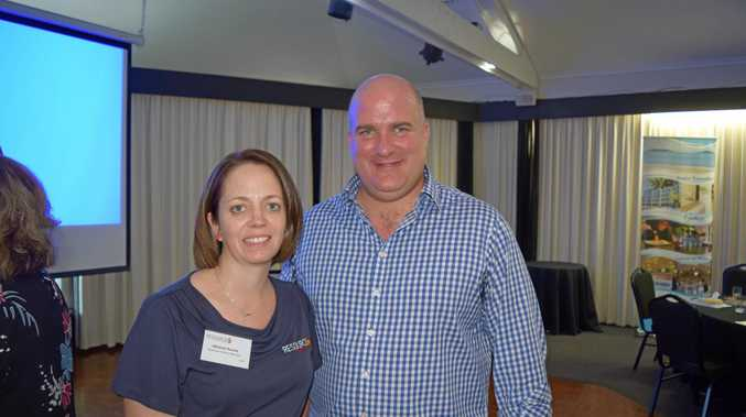 Resource Industry Network manager Adrienne Rourke and Adani regional content manager Ben Hughes at the August Briefing at Ocean International.