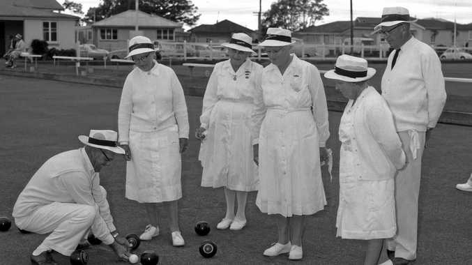 Bowlers competing in the Sunshine Coast Winter Carnival at Swan Bowls Club, Maroochydore, in the mid to late 1960s.