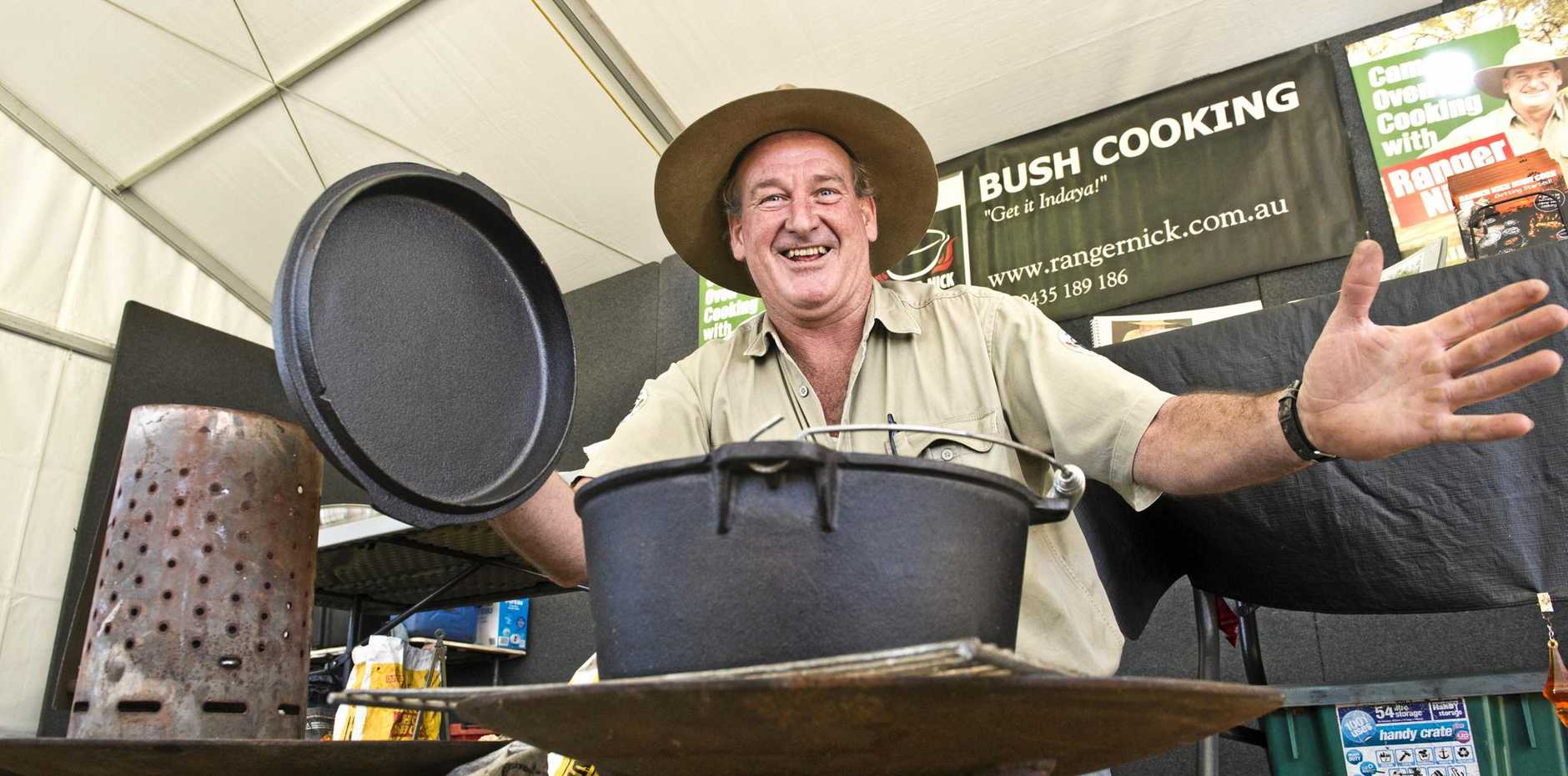 BUSH COOKING Nick Small (Ranger Nick) cooks up a storm at the 2017 Queensland Outdoor Adventure and Motoring Expo.
