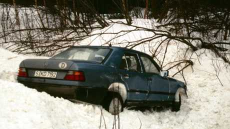 The Mercedes driven by safety engineer Frank Werner-Mohn, retrieved from a ditch near Stromsund Sweden in February 1989. Picture: Frank Werner Mohn.Source:Supplied