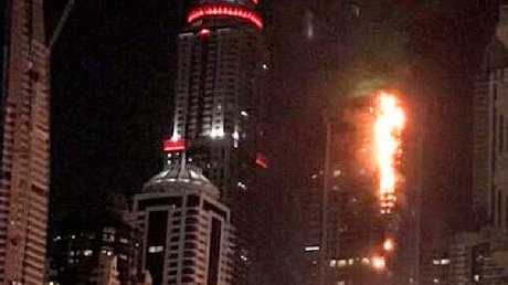 Twitter image showing a massive fire a Dubai skyscraper.Source:Twitter