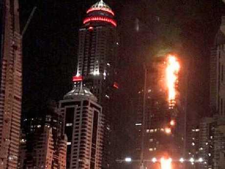 Twitter image showing a massive fire a Dubai skyscraper.Source:Twitter