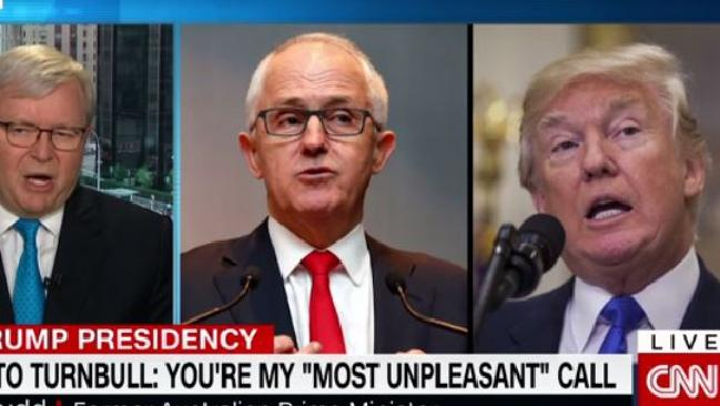 Former Prime Minister Kevin Rudd said he believed the leak was more damaging for Mr Turnbull than Mr Trump. picture: Screengrab/CNNSource:CNN