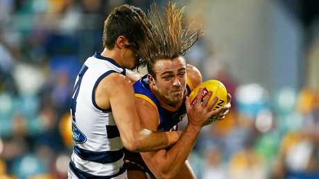 Mathieson, in action against Geelong in round 16, has played nine senior games this season after overcoming an ankle injury.