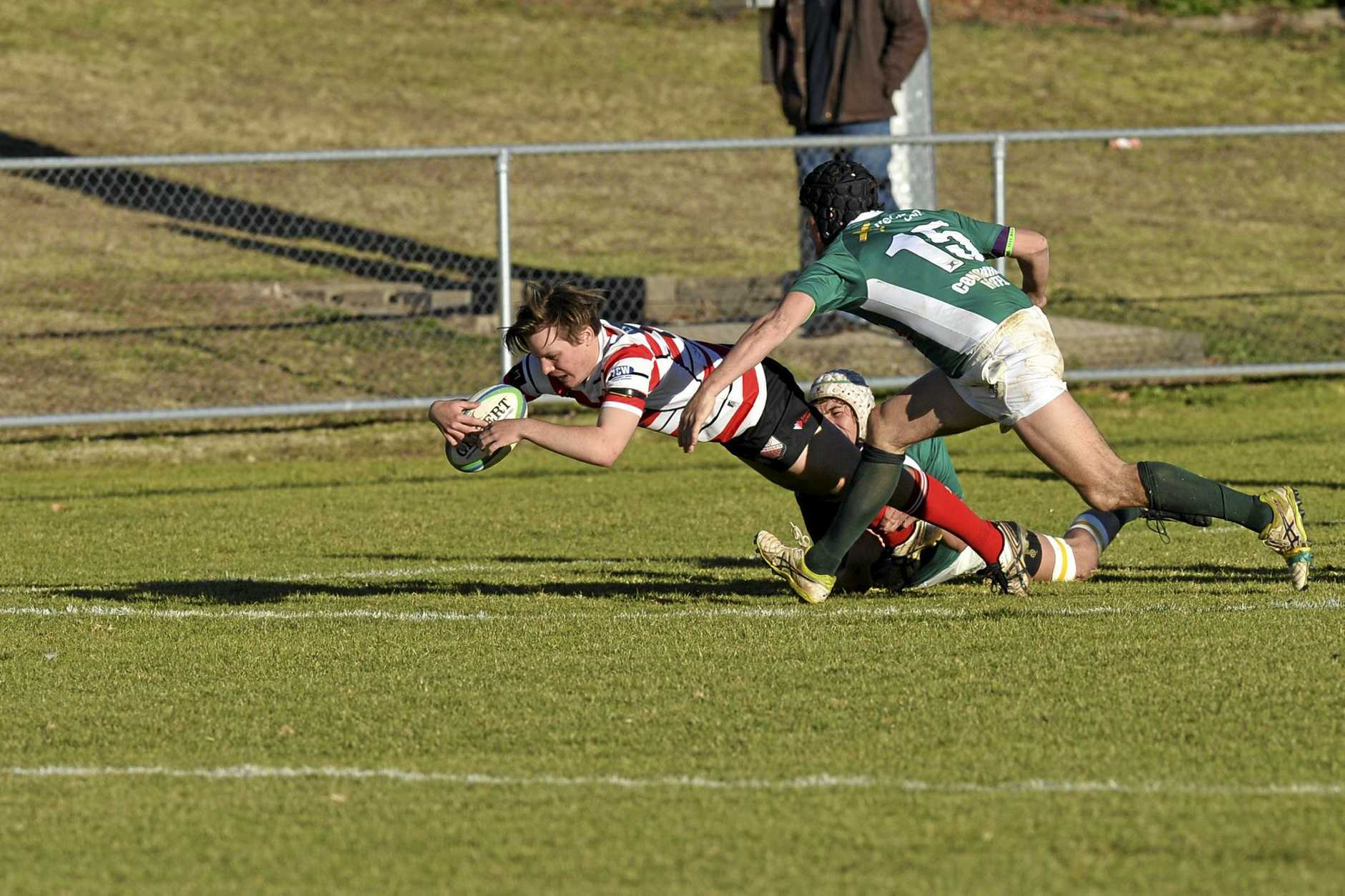 Jakeb Rice opens the second-half scoring with a try to Toowoomba Rangers against Condamine in Downs Rugby Risdon Cup round 18 rugby union at Gold Park, Saturday, August 5, 2017.
