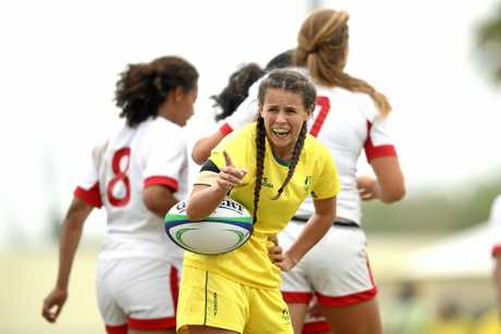 GOLD: Rebecca Goulding during the girl's rugby sevens gold medal final match between Australia and Canada at the Youth Commonwealth Games.