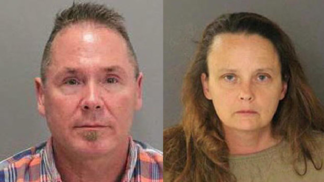 Michael Kellar and Gail Burnworth have been arrested after an airline passenger saw alleged explicit SMSs on Kellar's phone as Burnworth engaged in sex acts with children in her home. Picture: San Jose Police Department