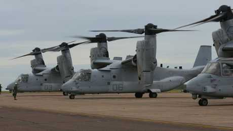 Four MV-22 Ospreys in Darwin in April following the aircraft's first ever trans-Pacific flight. Picture: US Marine Corps