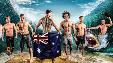 The promotional poster for Aussie Heat. Because clearly we all ride sharks. Source:Supplied